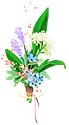 A floral bundle, with colorful blossoms.