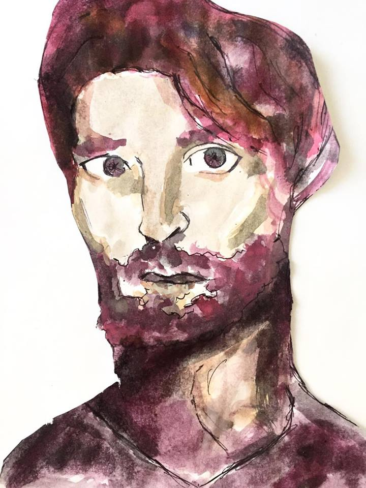 Watercolour Man With Hipster Beard by theloverofTMI