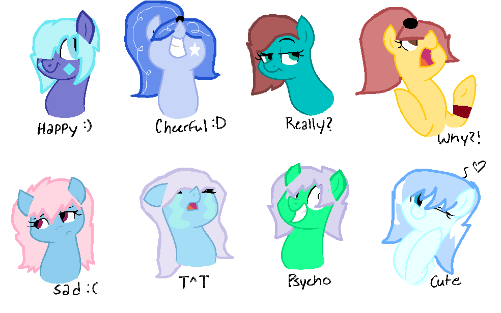 My characters and their moods by Emerald2002