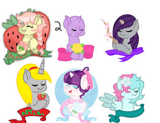 mane 6 collab with cotton peace (closed) by Emerald2002