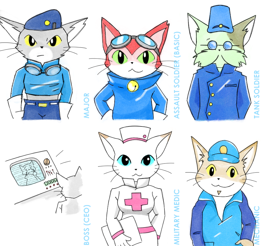 BLiNX Military Concept Characters by catgirl140