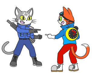 Time Cat pointing at Space Cat by NipChipCookies