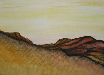Mountain and Desert / Watercolor Painting