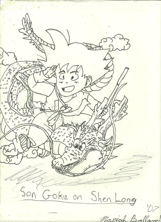 Child Son Goku Riding on Shenron by SlifofinaDragon