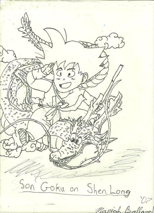 Child Son Goku Riding on Shenron by SlifofinaDragon