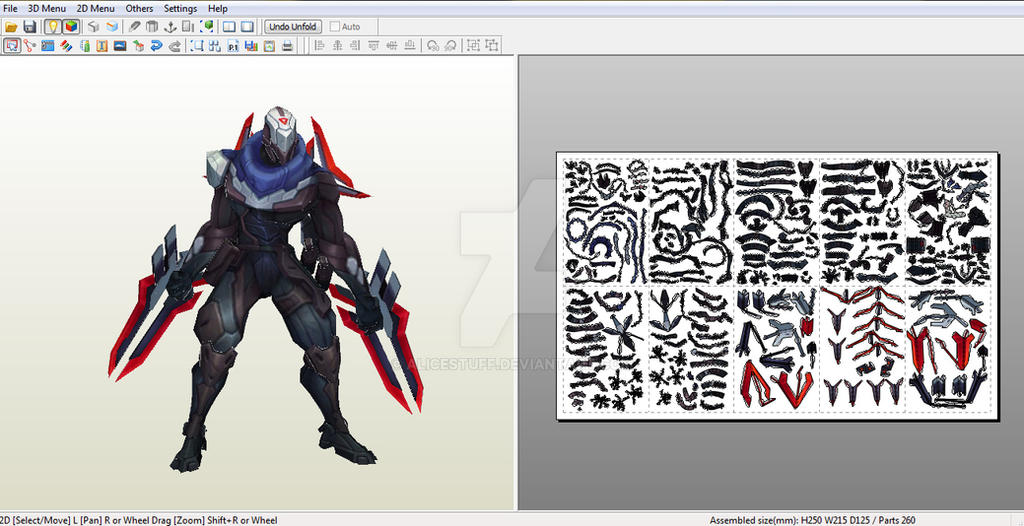 Project: Zed - Papercraft model template by alicestuff on DeviantArt