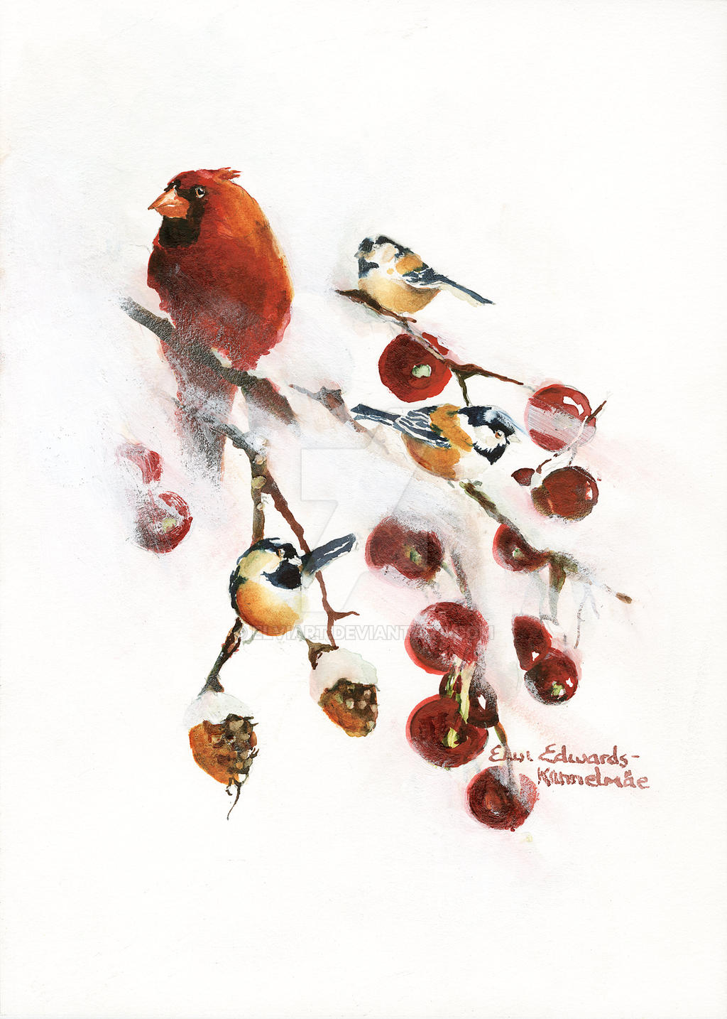 Winterland Birds by ElviArt