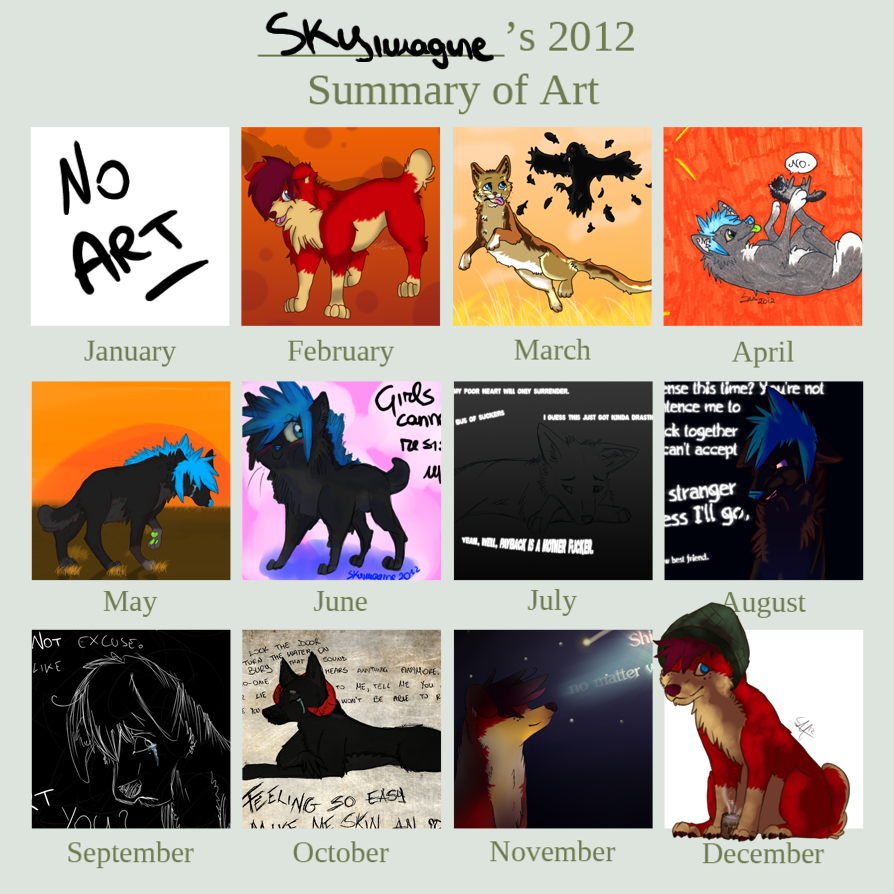 .Skyimagine's 2012 Art Summary by Squishy-Pirate-Mutt