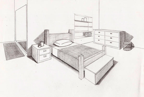 1 Point Perspective Bedroom