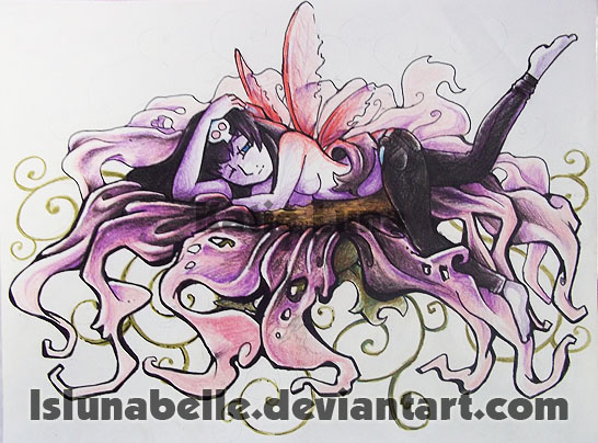 Dark Fairy on flower color - flower tattoo