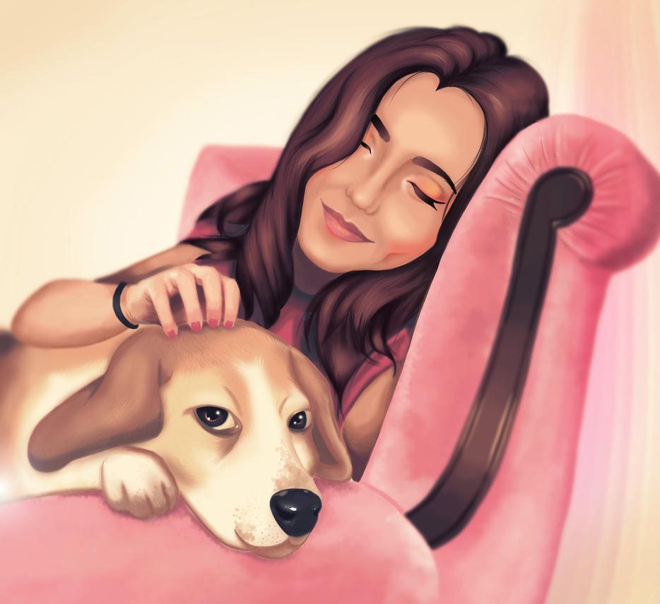 Girl and her dog in Pink by agnesyo