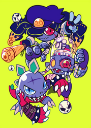 banchomamemon, datamon, and mametyramon by extyrannomon