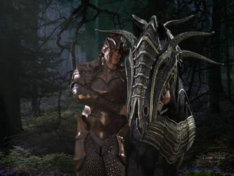 Knight Edouard Gavin and his horse by JezyCarole