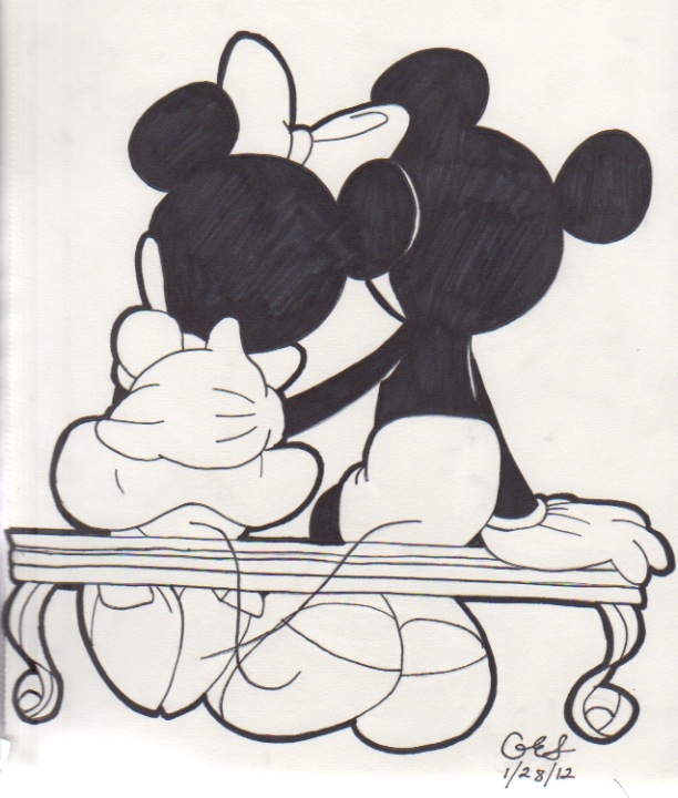 how to draw mickey mouse and minnie mouse