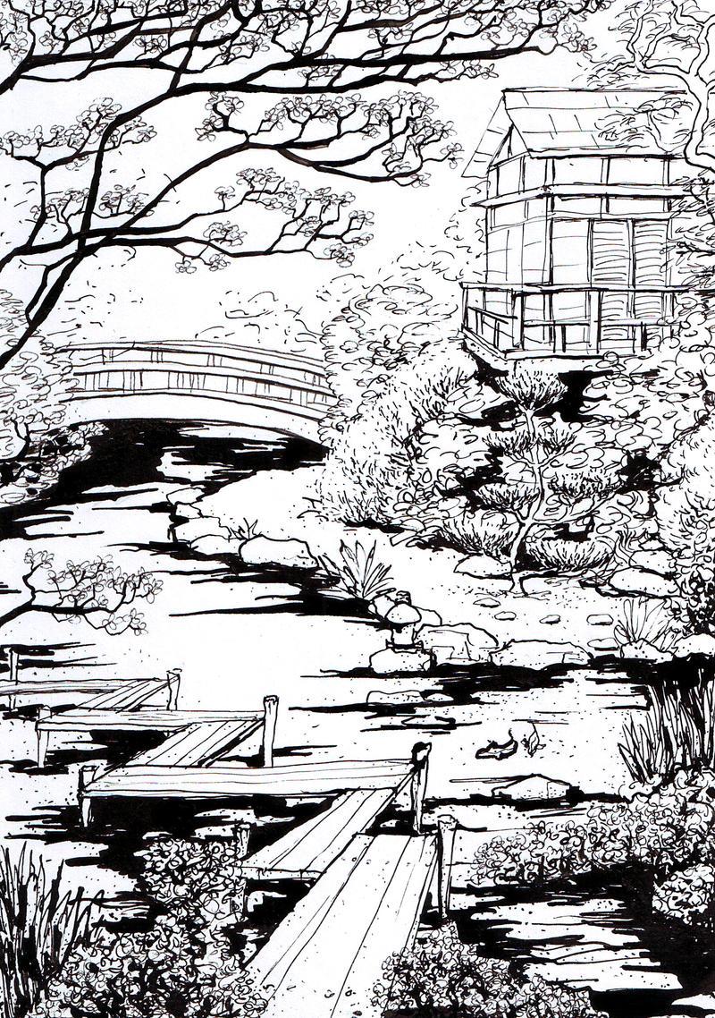 Line Drawing Garden : Japanese garden by milaschuster on deviantart