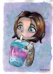 Tiny Winter Soldier and giant slushie
