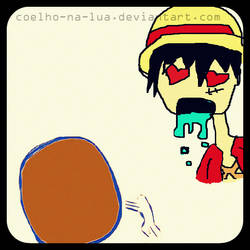 Luffy falls in love to the meat by Coelho-na-lua