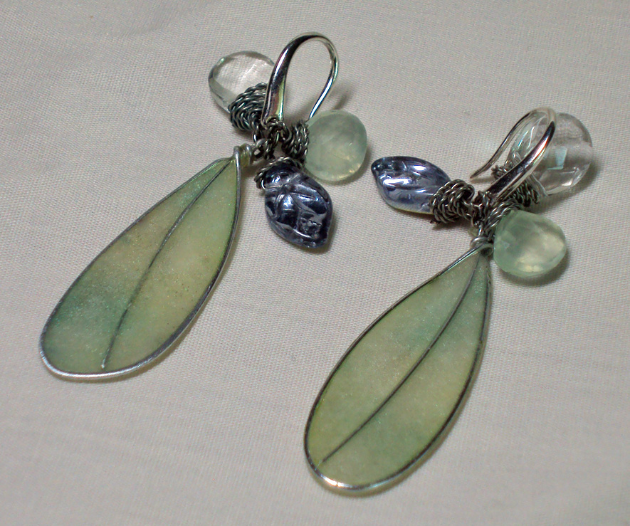 Green Fairy Wings Earrings by ACrowsCollection