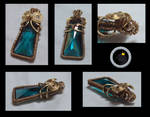 Teal And Gold Pendant
