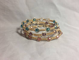 wire wrapped cotton candy colors stacking bangles
