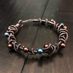 antique copper doodle bracelet