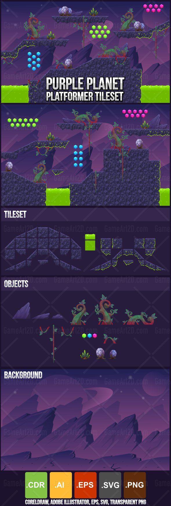 Purple Planet - Platformer Tileset by pzUH on DeviantArt