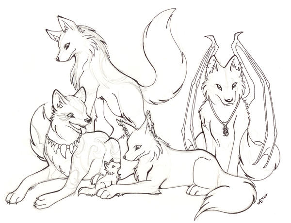 Wolf Pack -Line And Sketch By Halo-2-fan On DeviantArt