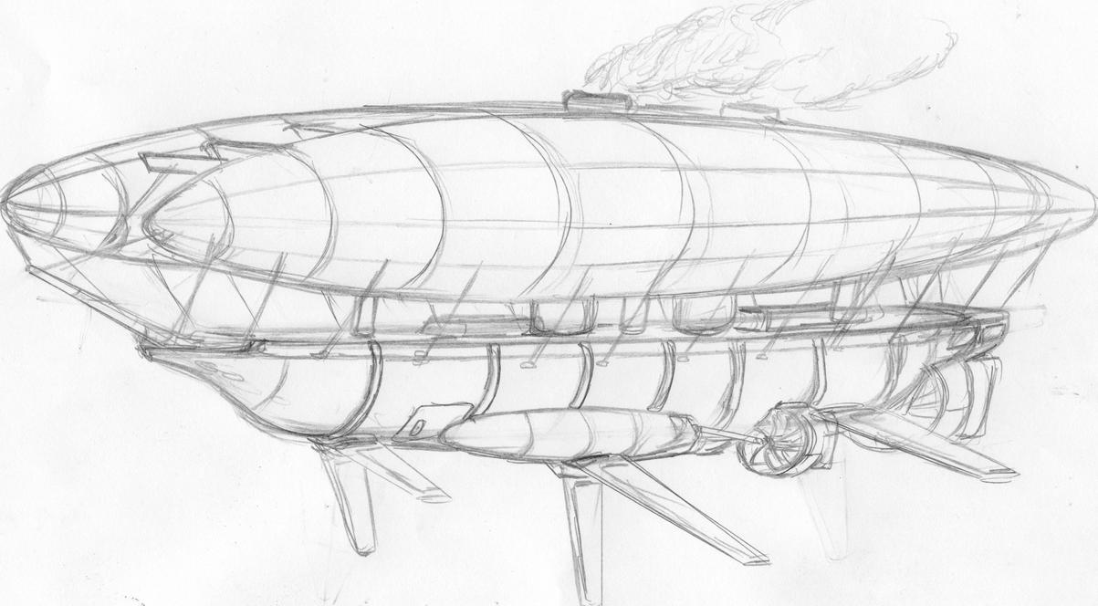 how to draw the aurora airship
