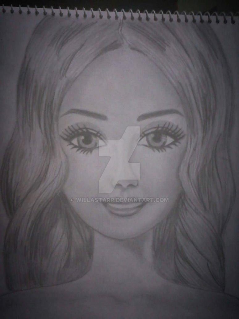 Barbie doll pencil sketch by willastarr