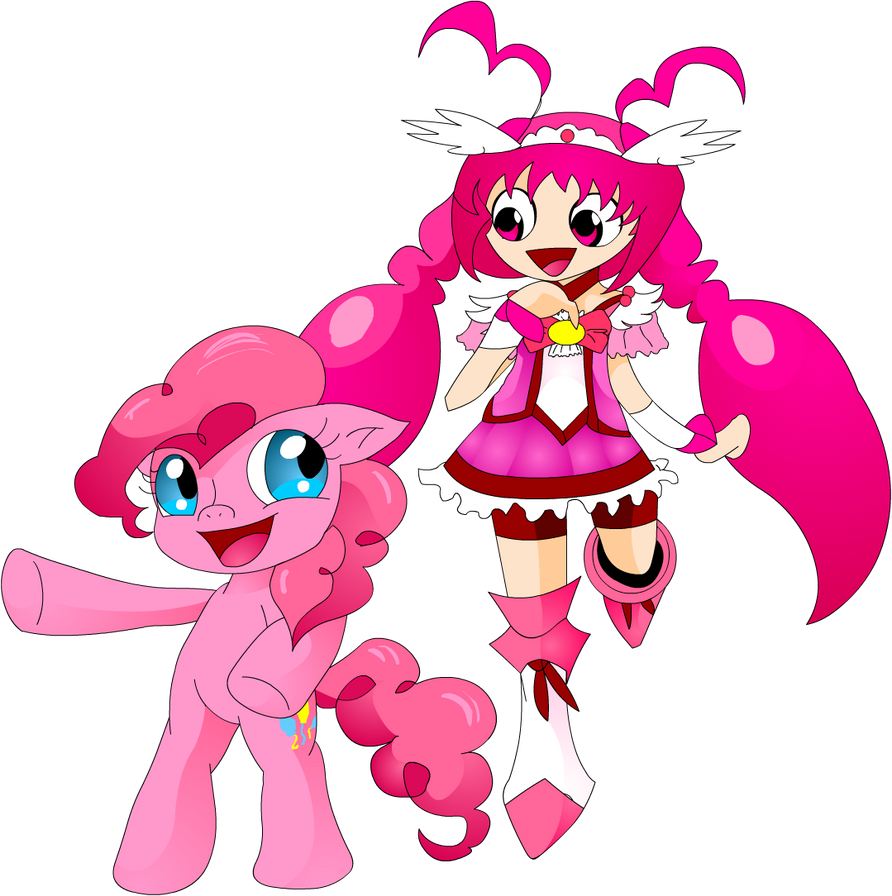 Pinkie pie and Cure Happy by Carol-aredesu
