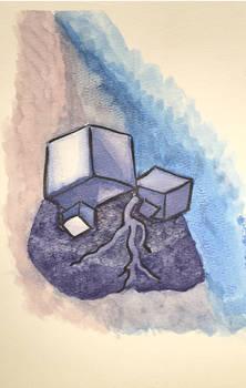 Watercolor test element rock