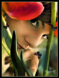 The broken tulip...colors by MARGOart