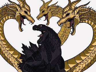 Godzilla Vs King Ghidorah Sketch By Me! by Jacksondeans
