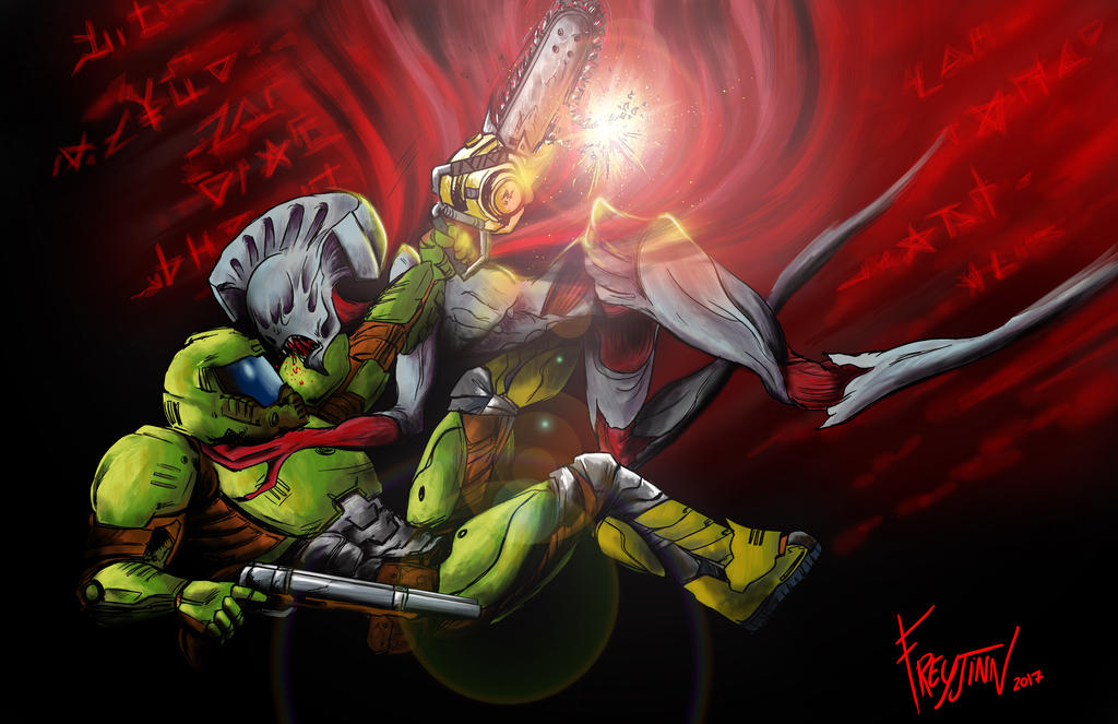 Doomguy Vs Summoner Doom 2016 By Freyjinn On Deviantart