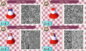 Sailor Mars acnl qr code by Pink0Fish
