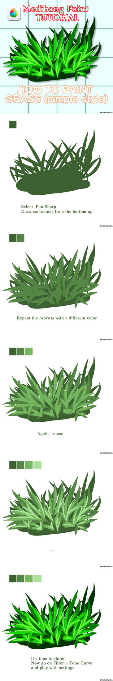 Medibang TUTORIAL - How to draw grass