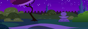 Canterlot Castle Night Garden 2 by CloudshadeZer0