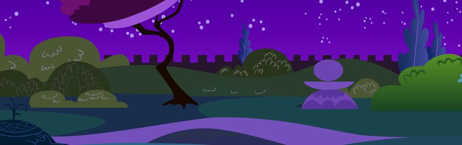 Canterlot Castle Night Garden 2 by CloudshadeZer0