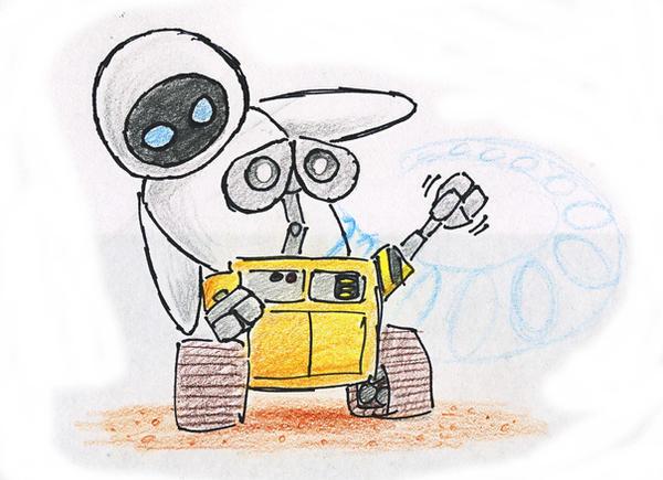Раскраска Ева и Валли  Раскраски роботы