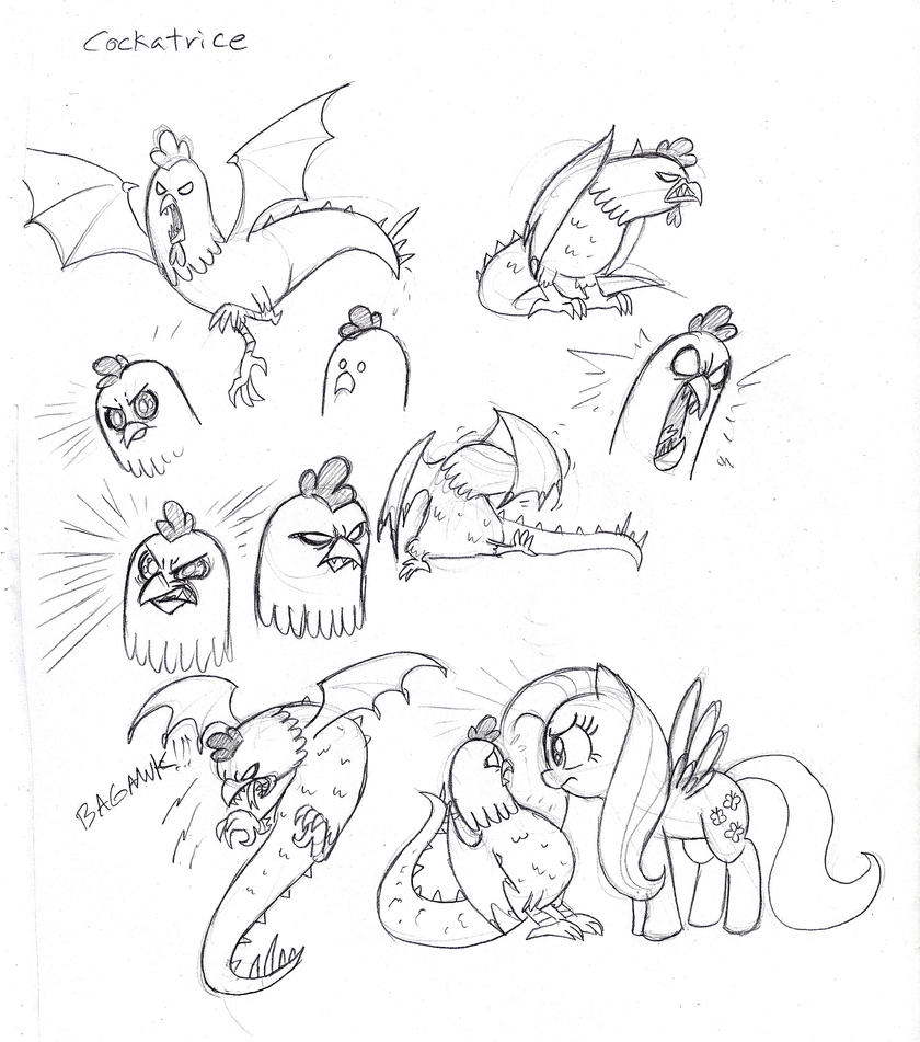 MLP FiM Cockatrice sketches by Mickeymonster