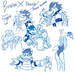 Bowser X Peach by Mickeymonster