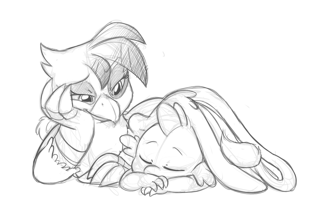 Gilda with Spike Commission sketch by Mickeymonster