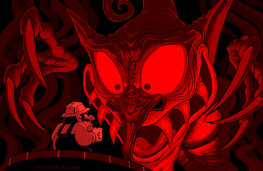 Wario VS Demon Head by Mickeymonster