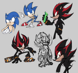 Sonic and Shadow doodles