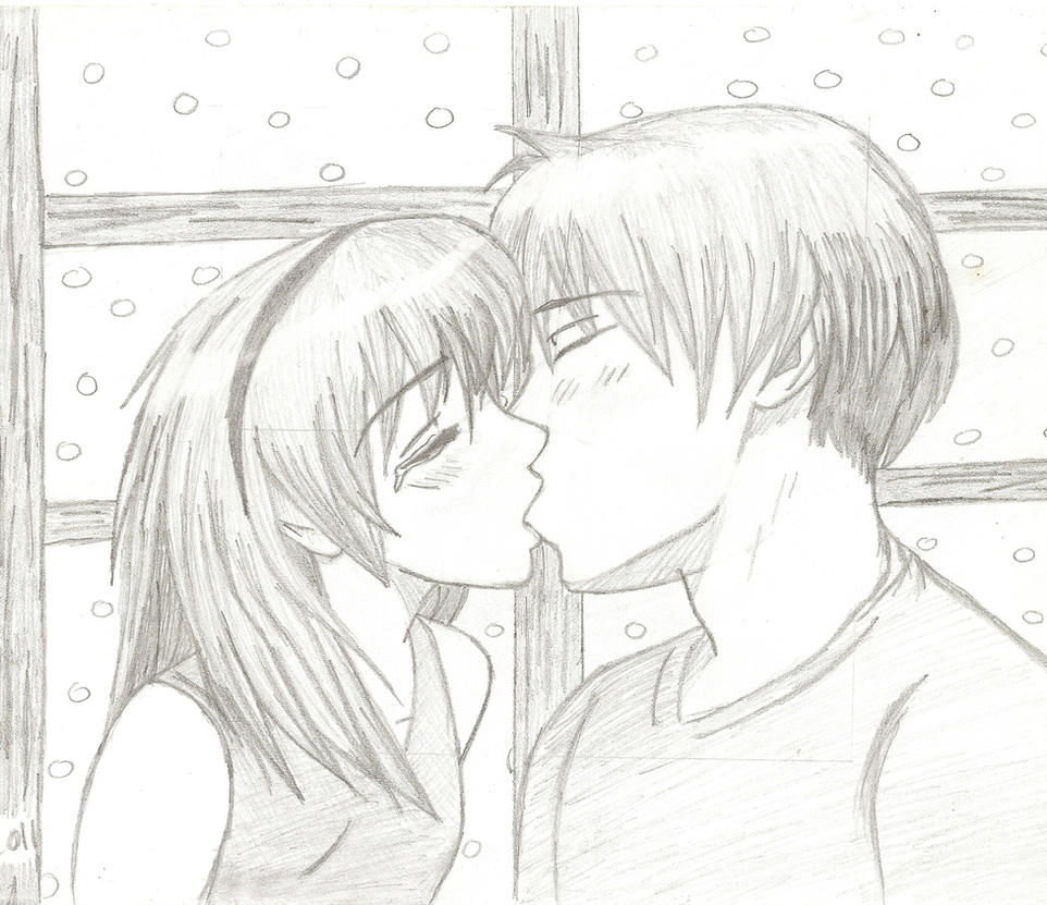 Anime Characters Kissing Drawing : Boy and girl anime kissing sketch by mogwai on deviantart