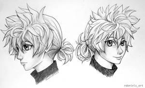 Killua with a ponytail! by RavenDANIELS