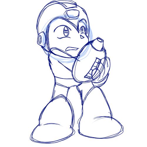 Preliminary Megaman Sketch by G-Bomber