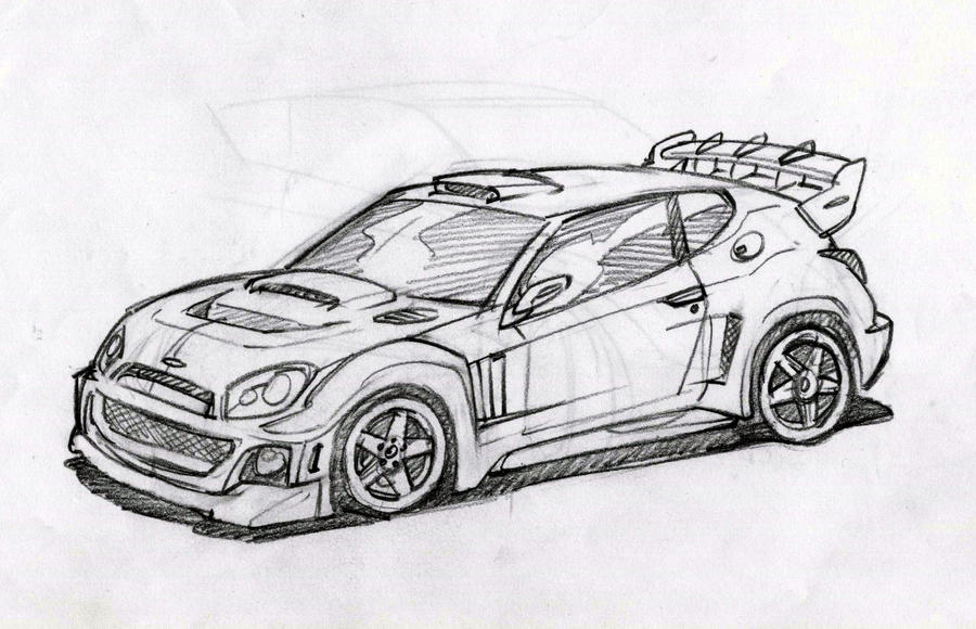 Rally car outline drawing 13