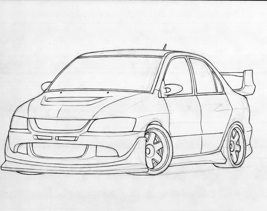 mitsubishi car drawing coloring pages 900x527 lancer