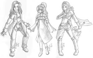 Thunder Mage, Priestess and Fighter